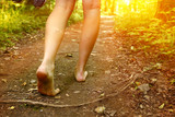 Fototapety feet walking along the forest path close up photo