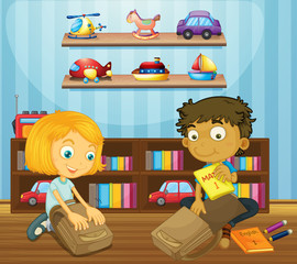 Boy and girl packing schoolbags