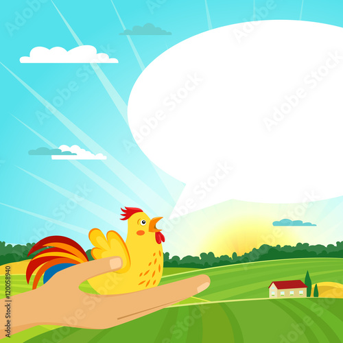 Fotobehang Turkoois Yellow rooster sitting on human hand with open beak and speech bubble on summer farm sunrise landscape. Vector cartoon background.