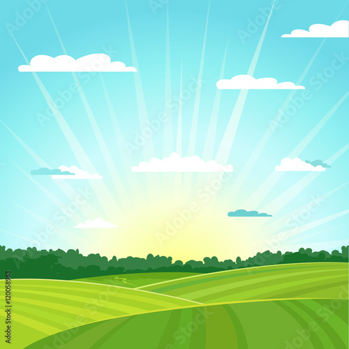 Foto op Plexiglas Turkoois Natural country summer landscape background. Sunrise. Vector illustration.