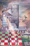 Antico castello gotico in un paesaggio fantastico con arcobaleno - 120060783