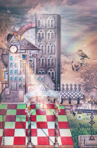 Antico castello gotico in un paesaggio fantastico con arcobaleno