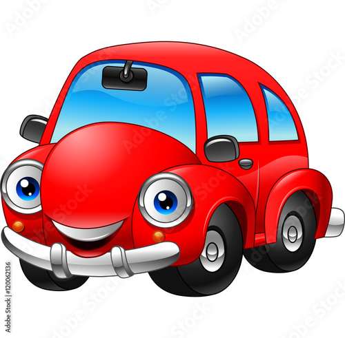 Cartoon funny red car