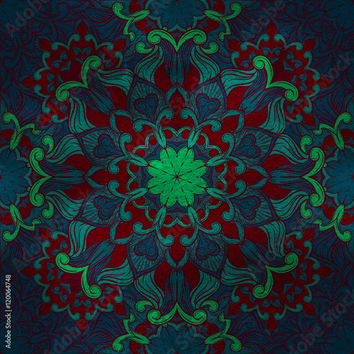 Seamless decorative pattern. Ornament with mosaic elements Poster