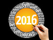 2016 Goals circle word cloud, health concept background
