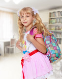Girl with school backpack