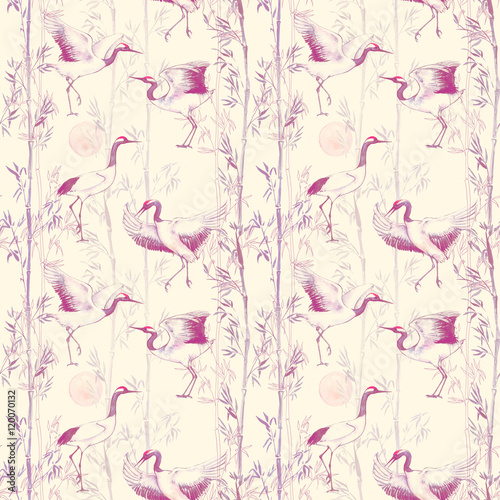Hand-drawn watercolor seamless pattern with white Japanese dancing cranes. Repeated background with delicate birds and bamboo - 120070132