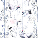 Hand-drawn watercolor seamless pattern with white Japanese dancing cranes. Repeated background with delicate birds and bamboo