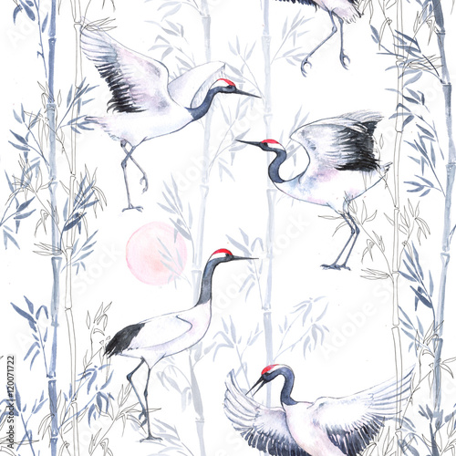 Hand-drawn watercolor seamless pattern with white Japanese dancing cranes. Repeated background with delicate birds and bamboo - 120071722