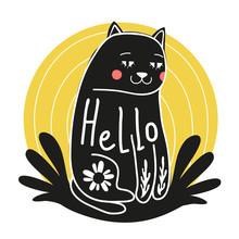 Funny doodle sztuki z kreskówki kota, który mówi cześć. elementy kwiatowe, różowe policzki i żółte tło