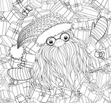 Santa Claus in Zentangle style. Beard, glasses, cap. Symbols of Christmas characters. Merry Christmas. Hand-drawn elements for New Year