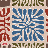 Vector pattern including ethnic Australian motive with multicolored typical elements