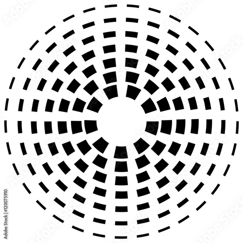 Concentric dashed line circles - Abstract geometric element on w - 120075910