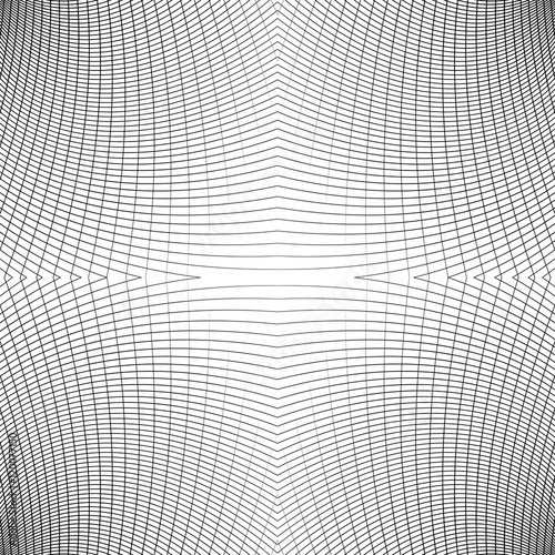 Grid of distorted dynamic lines. Repeatable. Curved lines geomet - 120077150
