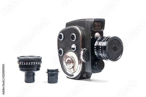 Poster Vintage movie camera and two additional lens isolated on white
