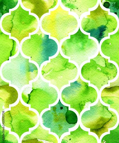 Leinwandbild Motiv Seamless watercolor background in green. Beautiful pattern in moroccan style.