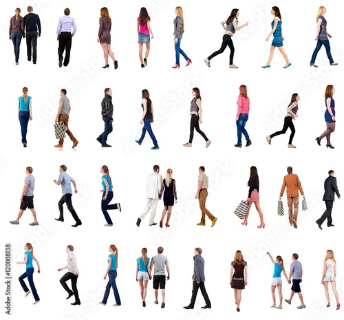 "collection "" back view of walking people "" Poster"