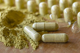 Organic Herbal drug an alternative medicine with hand capsule packing