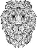 Hand drawn doodle ornate lion illustration