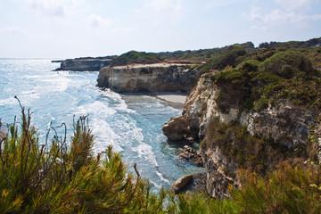 Salento, wild coast near Torre dell'Orso. Puglia, Italy