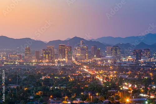 Poster Arizona Top view of downtown Phoenix Arizona