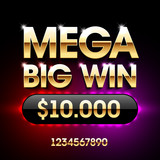 Mega Big Win casino banner. Applicable for poker, roulette, slot machines or card games