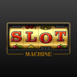 Slot machine casino advertising design element