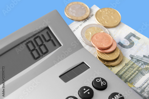 Poster Euro und Rechner - Mindestlohn