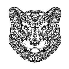 Ethnic ornamented tiger, puma, panther, leopard or jaguar. Hand drawn vector illustration with floral elements