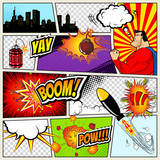 Fototapety Comics Template. Vector Retro Comic Book Speech Bubbles Illustration. Mock-up of Page with place for Text, Bubbls, Symbols, Sound Effects, Colored Halftone Background and Superhero