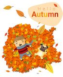 Hello autumn background with little boy , vector , illustration
