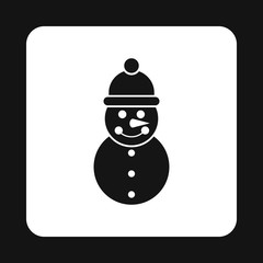 Snowman icon in simple style on a white background vector illustration