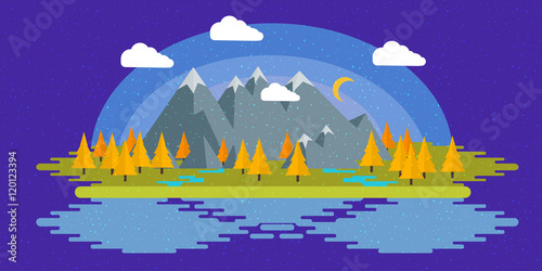 Fotobehang Violet Flat design nature landscape illustration with sun, hills and clouds.