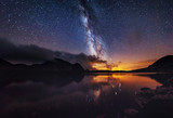 Fototapety Milky way on over the mountain lake