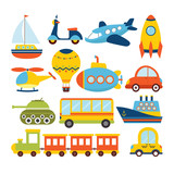 Fototapety Set of cartoon transport. Transportation theme