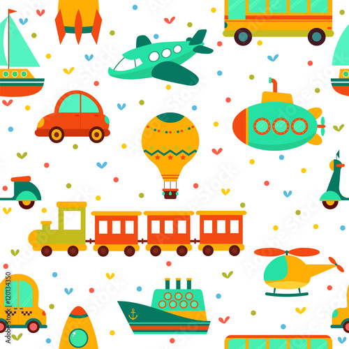 Cotton fabric Seamless pattern with colorful transport. Cute children backgrou