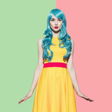 Fototapety Pop art woman portrait wearing blue curly wig and bright yellow