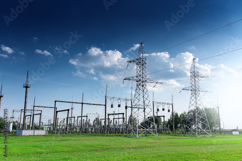 Power station on blue sky at daytime Poster