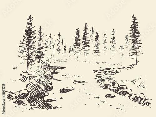 Foto op Canvas Wit Hand drawn landscape river forest vintage vector.