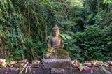 Statue de bouddha et offrandes à Bali, Indonésie