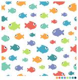 Colorful cartoon fish seamless vector pattern