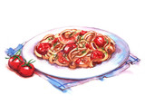 Fototapety Hand-drawn watercolor illustration of the pasta on the plate. Isolated drawing of the national Italian food. Pasta with shrimps and tomatoes.
