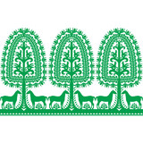 Seamless Polish folk art pattern Wycinanki Kurpiowskie - Kurpie Papercuts - 120157171
