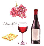 Hand-drawn watercolor illustration of the wine bottle, grape, sliced cheese and one glass of red wine. Drawing isolated on the white background. Wine set. - 120157182