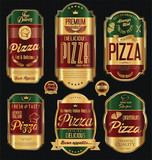 Set of vintage styled golden luxury pizza labels