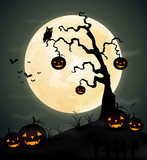 Halloween night background with pumpkin, tree and full moon.