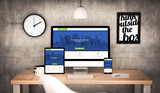 Fototapety office workplace with fresh and modern web design devices collec