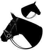 horse head profile black and white design