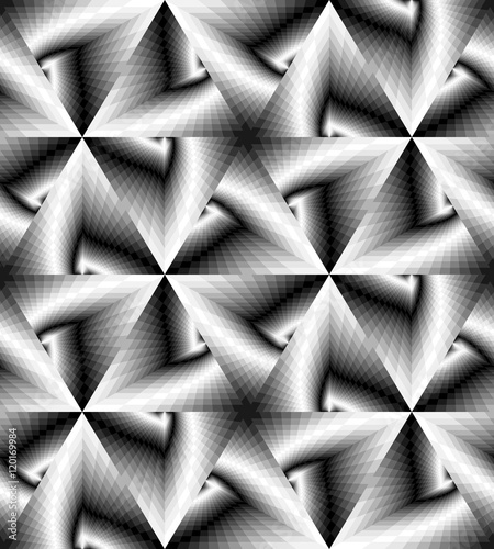 Vector Illustration. Seamless Monochrome  Geometrical Pattern Gently Shimmering from Light to Dark Tones  create the illusion of depth and volume.