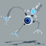 White futuristic flying robot with one eye and four bionics limbs with blue neon lights. Observation drone concept. Control of artificial intelligence. 3d render